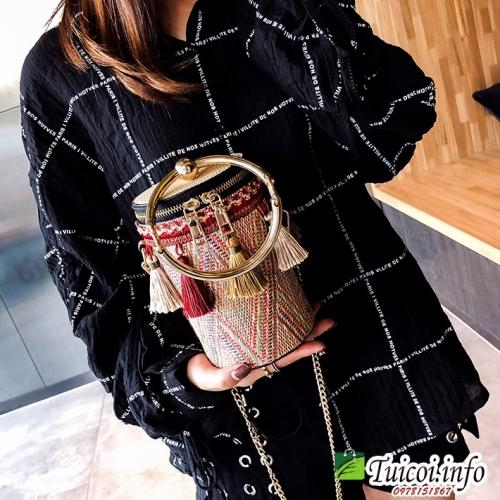 Túi cói phong cách hàn quốc đeo chéo