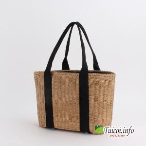 Túi cói quai vải đen