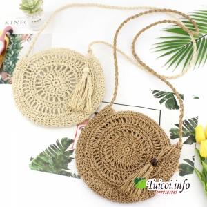 Túi cói tròn quả gỗ
