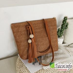 Túi cói hàn quốc quả gỗ