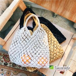 Túi len đeo vai nữ đan mắt lưới