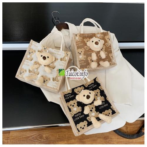 Túi cói mini gấu bông