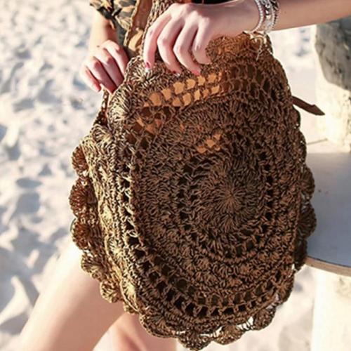 Túi cói tròn phối hoa văn